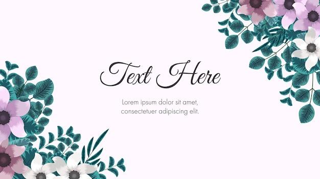 Szablon karty ramki z kwiatowym obramowaniem używany jako tło strony internetowej banner social media post app poster