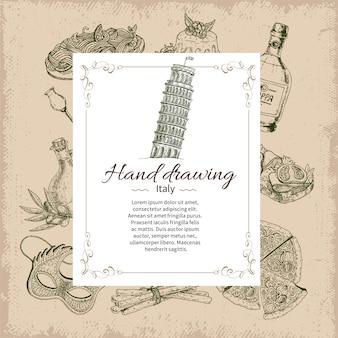 Szablon karty ręcznie rysowane włochy