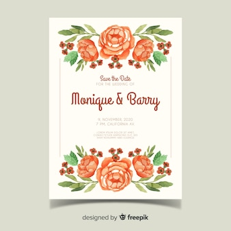 Szablon karty ślub akwarela