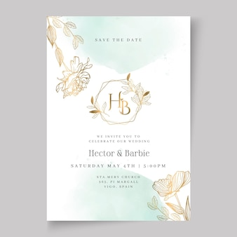 Szablon karty ślub kwiatowy