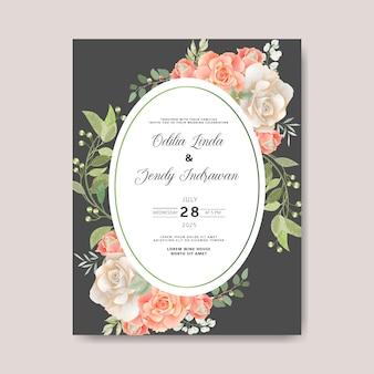 Szablon karty ślub piękny kwiat