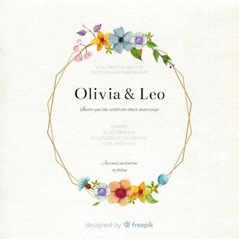 Szablon karty ślub w akwareli