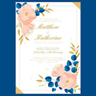 Szablon karty ślub z dużym kwiatem