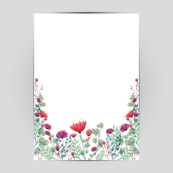 Szablon karty ślub z kwiatami