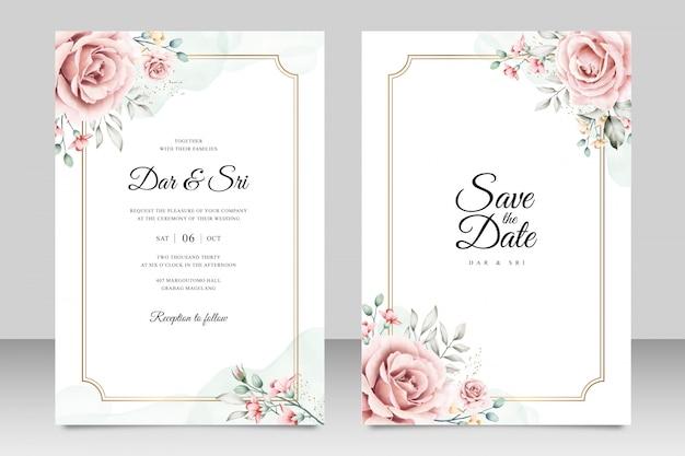 Szablon karty ślub z minimalistycznym akwarela kwiatowy
