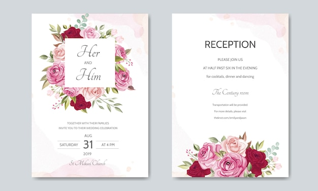 Szablon karty ślub z piękne róże i liście