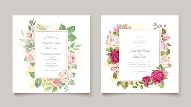 Szablon karty ślub z piękny wieniec kwiatowy