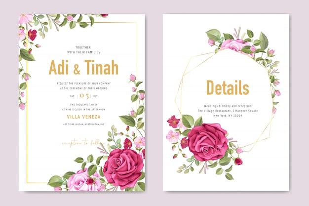Szablon karty ślub z pięknym kwiatem i liści ramki