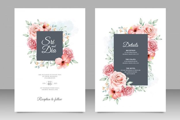 Szablon karty ślub z uniwersalnym ramki kwiatowy