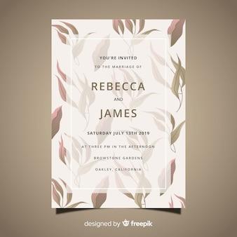 Szablon karty ślub z wyciągnąć rękę liści