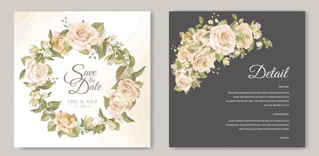 Szablon karty ślubne elegancki wieniec kwiatowy