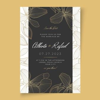 Szablon karty ślubnej w minimalistycznym stylu