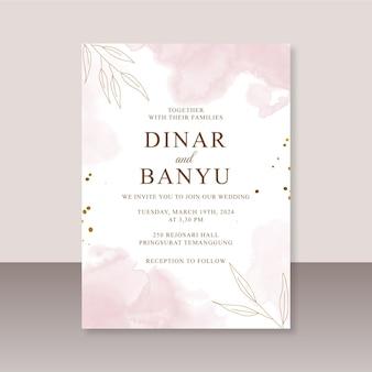 Szablon karty ślubnej z abstrakcyjnym pluskiem akwareli
