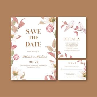 Szablon karty ślubnej z koncepcją kwiatów cottagecore, styl akwareli