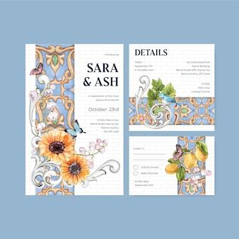 Szablon karty ślubnej z koncepcją w stylu włoskim, w stylu akwareli