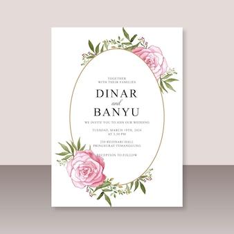 Szablon karty ślubnej z kwiatową akwarelą