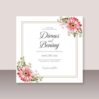 Szablon karty ślubnej z kwiatowym akwarelą