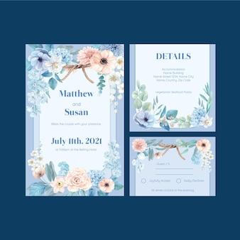 Szablon karty ślubnej z spokojną koncepcją niebieskiego kwiatu, w stylu akwareli