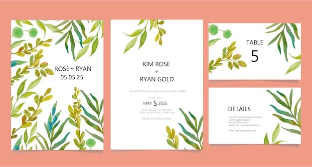 Szablon karty ślubu akwarela liści