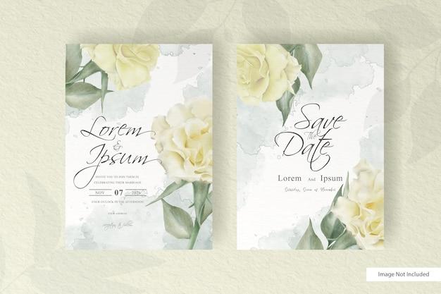 Szablon karty ślubu akwarela zestaw z ilustracji kwiatów dekoracji kwiatów i liści