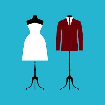 Szablon karty ślubu. biała suknia ślubna i garnitur na białym tle na niebieskiej okładce.