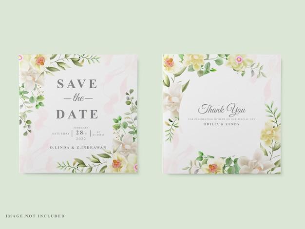 Szablon karty ślubu biały magnolia projekt