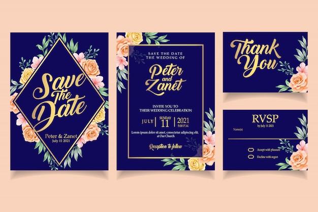 Szablon karty ślubu elegancki kwiatowy zaproszenie akwarela