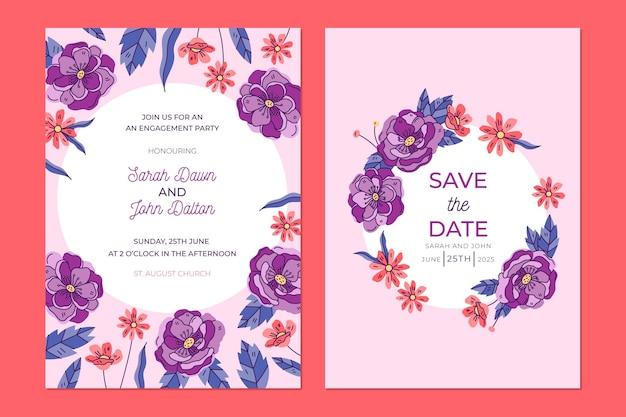 Szablon karty ślubu kwiatowy
