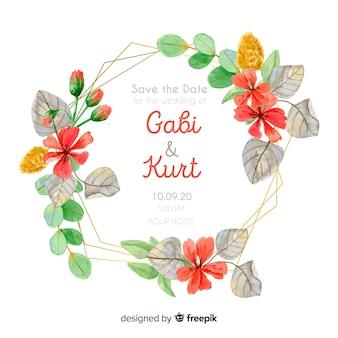 Szablon karty ślubu ładny akwarela kwiatowy ramki