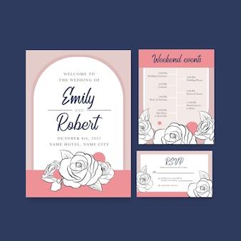 Szablon karty ślubu na zaproszenie i małżeństwo