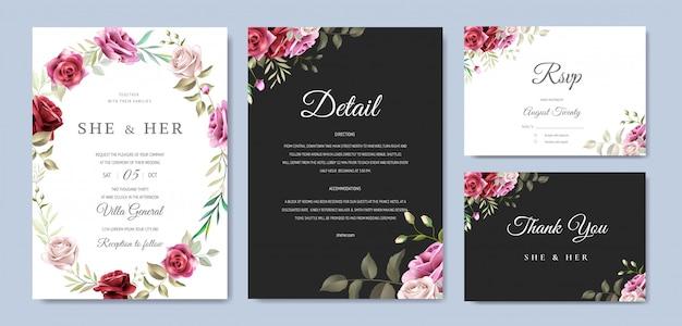 Szablon karty ślubu piękny wieniec kwiatowy