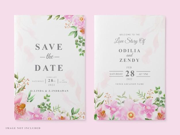 Szablon karty ślubu różowy projekt magnolii