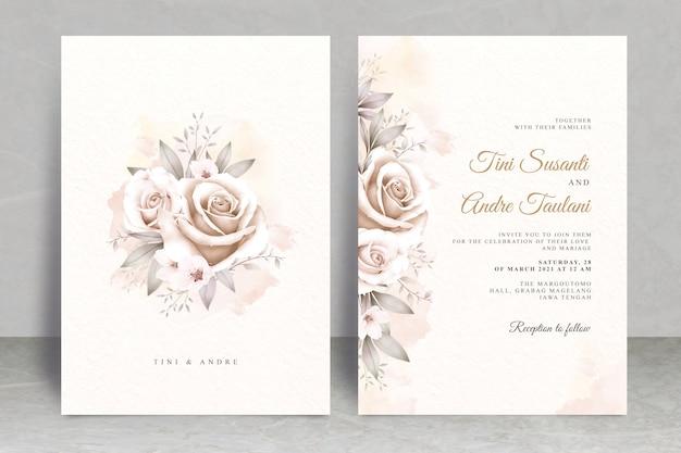 Szablon karty ślubu vintage z kwiatową akwarelą