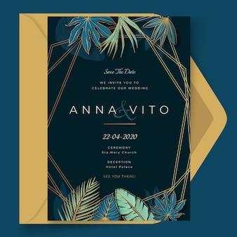 Szablon karty ślubu w minimalistycznym stylu