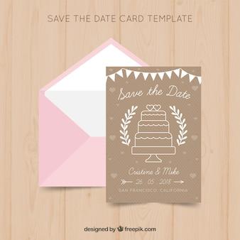 Szablon karty ślubu z ciastem