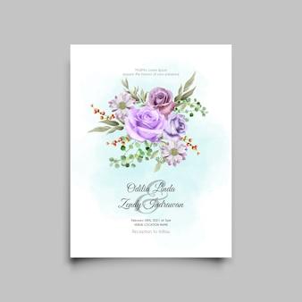 Szablon karty ślubu z eleganckim fioletowym wzorem róż