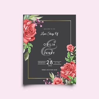 Szablon karty ślubu z eleganckim wzorem czerwonych róż