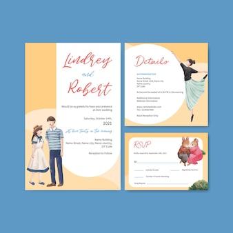 Szablon karty ślubu z koncepcją rajskiej miłości na zaproszenie akwarela ilustracja