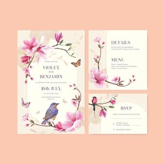 Szablon karty ślubu z kwiatem i ptakiem