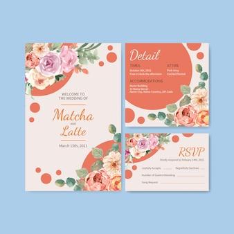 Szablon karty ślubu z kwitnącą miłością projekt akwarela ilustracja