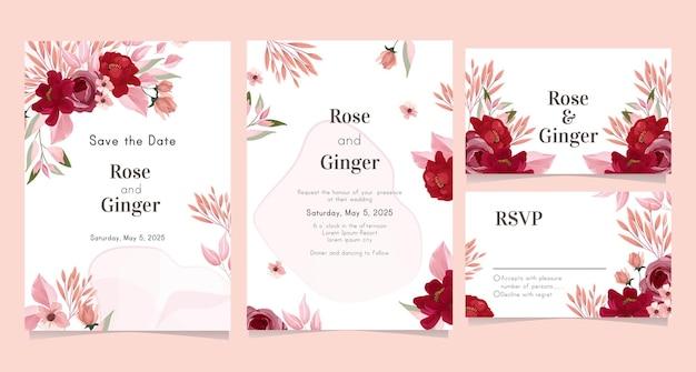 Szablon karty ślubu z ładny kwiat