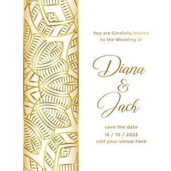Szablon karty ślubu z ozdobnym stylem dekoracyjnym