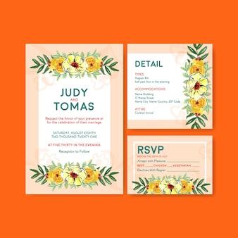 Szablon karty ślubu z pędzlem kwiatowym na zaproszenie i poślubić akwarela