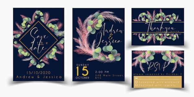 Szablon karty ślubu zestaw z trawy różowy pampasów