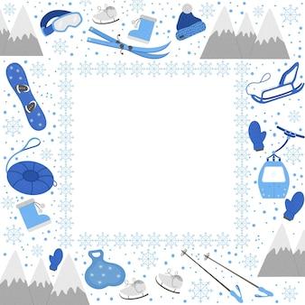 Szablon karty sprzęt sportowy w zimnym sezonie.