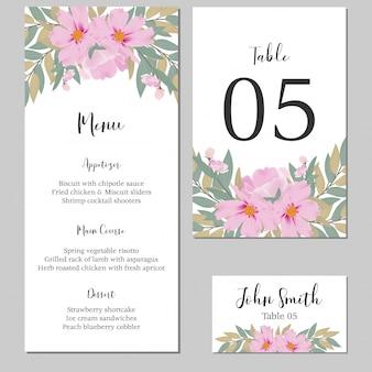 Szablon karty stacjonarne akwarela kwiatowy ślub