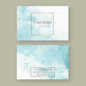 Szablon karty streszczenie niebieski akwareli aquarelle