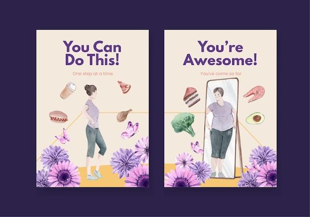 Szablon karty światowy dzień akcji zaburzeń odżywiania w stylu przypominającym akwarele