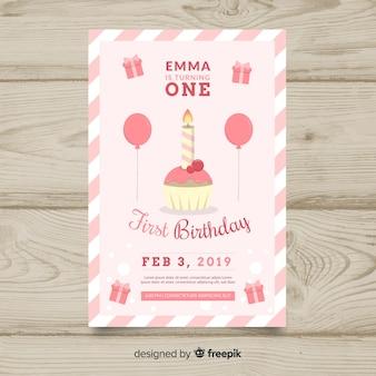 Szablon karty świeca pierwszy urodziny cupcake
