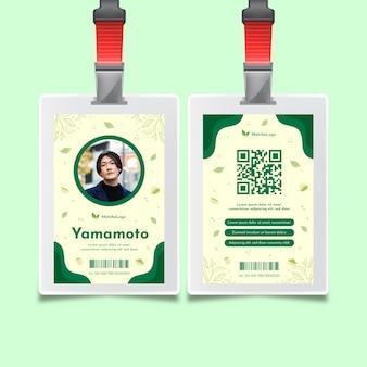 Szablon karty tożsamości herbaty matcha